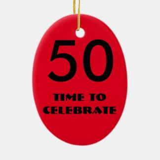 fiftieth ornamento vermelho e preto do aniversário