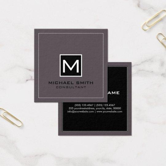 Fígado preto moderno elegante do monograma cartão de visitas quadrado