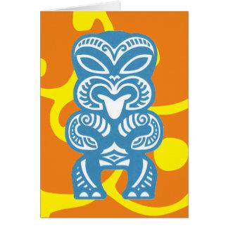 Figura azul cartão da boa sorte de Tiki do símbolo