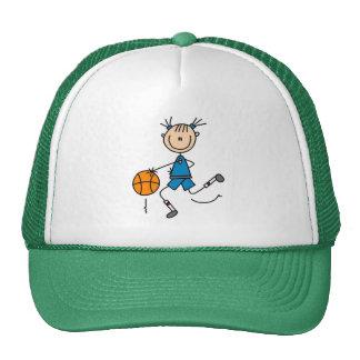 Figura azul chapéu da vara da menina do basquetebo boné