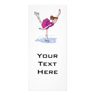 figura bonito giro da menina do patinador planfetos informativos coloridos