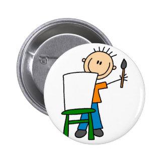 Figura botão da vara da pintura do menino bóton redondo 5.08cm