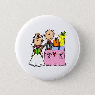 Figura botão da vara do casamento do casal bóton redondo 5.08cm