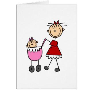 Figura cartão da vara da mamã e do bebê