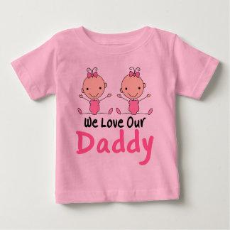 Figura cor-de-rosa bebês da vara das meninas camiseta para bebê