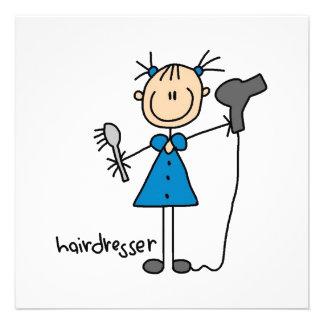 Figura da vara do cabeleireiro convites personalizado