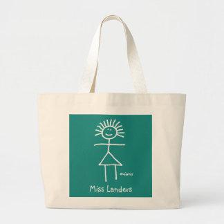 Figura da vara do professor do giz no saco verde sacola tote jumbo