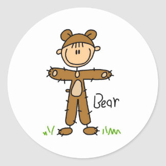 Figura da vara na etiqueta do terno do urso adesivo
