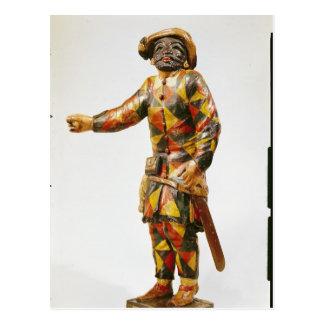 Figura do Harlequin do teatro de Seraphin Cartão Postal