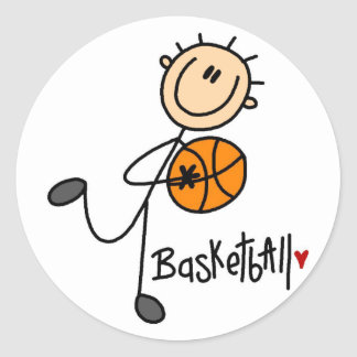 Figura etiquetas da vara do basquetebol adesivos redondos
