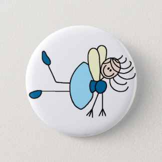Figura fada da vara no botão azul bóton redondo 5.08cm