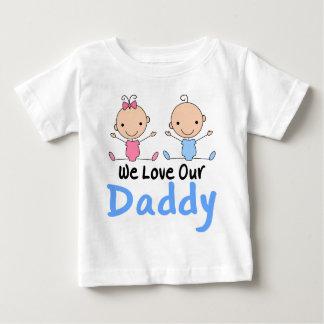 Figura gêmea bebês da vara do menino e da menina camiseta para bebê