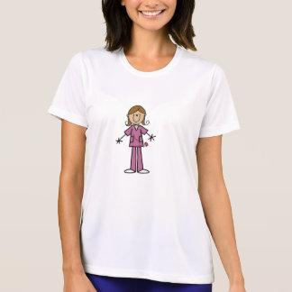 Figura média enfermeira fêmea da vara da pele t-shirts
