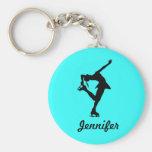 Figura menina do patinador & corrente chave conhec chaveiros
