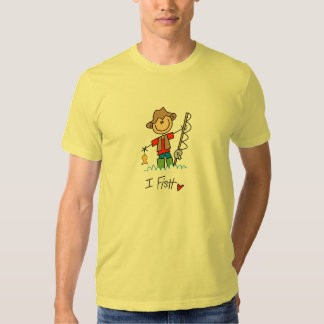 Figura pescador da vara camisetas