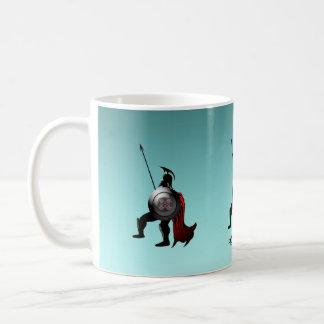 Figura preta grega guerreiro caneca de café