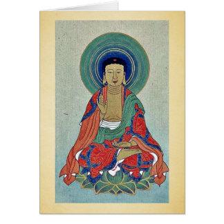 Figura religiosa que senta-se em uns lótus com hal cartao