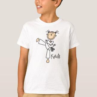 Figura t-shirt da vara da menina do karaté camiseta