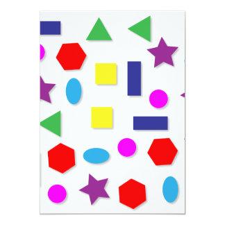 Figuras geométricas coloridas convite 12.7 x 17.78cm