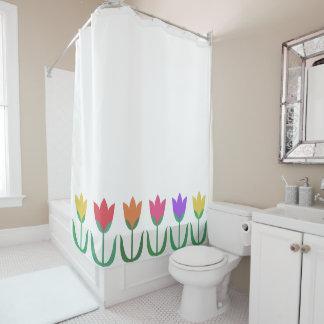 Fileira colorida das tulipas do primavera do teste cortina para chuveiro