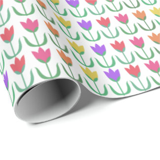 Fileira colorida das tulipas do primavera do teste papel de presente