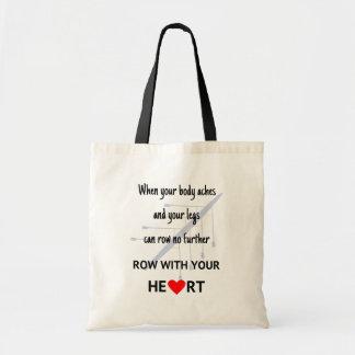 Fileira com seu coração inspirador bolsa tote