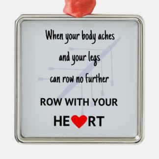 Fileira com sua motivação do coração ornamento quadrado cor prata