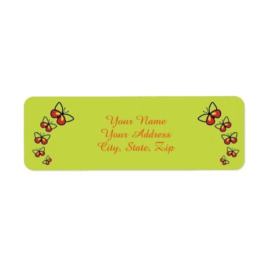 Fileira de borboletas bonitos etiqueta endereço de retorno
