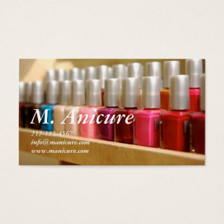 fileira de multi nailpolishes coloridos cartão de visitas