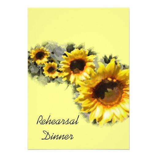 Fileira do convite do jantar de ensaio dos girassó