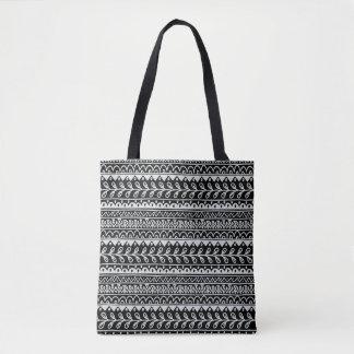 Fileiras de padrões preto e branco do Doodle Bolsa Tote