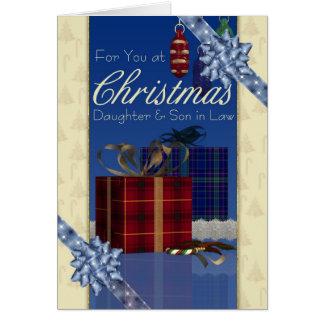 Filha & filho no cartão de Natal da lei -