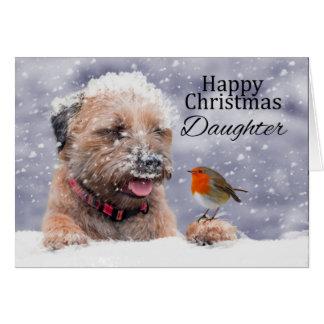 Filha, Natal, cartão do cão de Terrier de beira