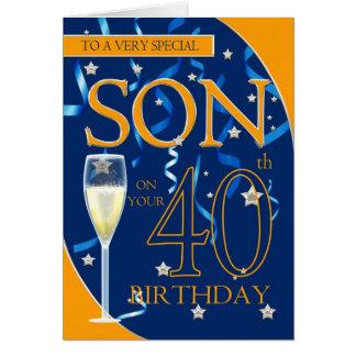 Filho do aniversário de 40 anos - vidro de cartão comemorativo