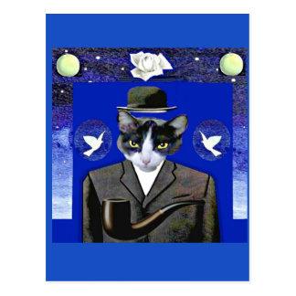 Filho do gato - cartão da paródia de Magritte