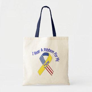 Filho - eu visto um patriótico militar da fita bolsas para compras