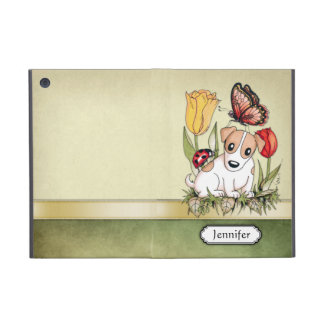 Filhote de cachorro bonito com borboleta, joaninha capa iPad mini