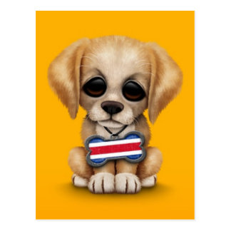 Filhote de cachorro bonito com o Tag de cão da Cartão Postal
