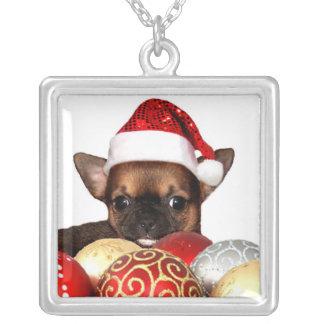 Filhote de cachorro da chihuahua do Natal Colar Banhado A Prata
