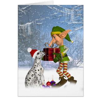 filhote de cachorro dalmatian com o cartão de