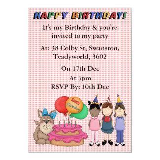 Filhote de cachorro do aniversário convite 12.7 x 17.78cm