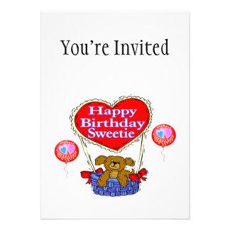 Filhote de cachorro do docinho do feliz aniversari convite personalizado