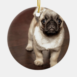 Filhote de cachorro do Pug Ornamento De Cerâmica Redondo