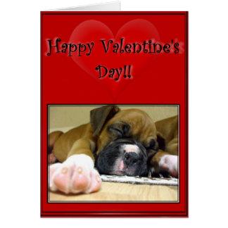 Filhote de cachorro do pugilista do feliz dia dos cartão
