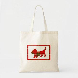 Filhote de cachorro do Tartan na sacola do Bolsa Tote