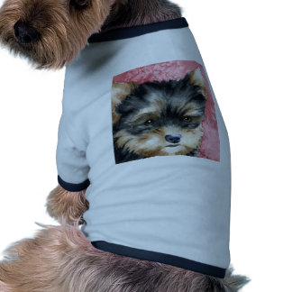 Filhote de cachorro do yorkshire terrier camisa ringer para cachorro