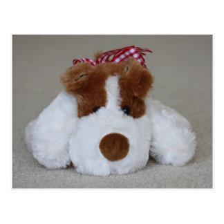 Filhote de cachorro macio do brinquedo cartão postal