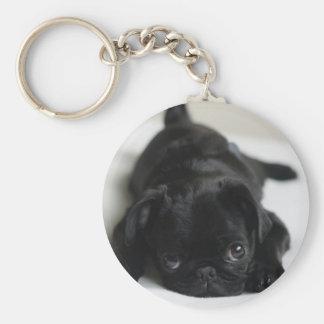 Filhote de cachorro preto do Pug Chaveiros
