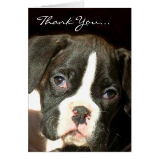 Filhote de cachorro rajado do pugilista cartão comemorativo