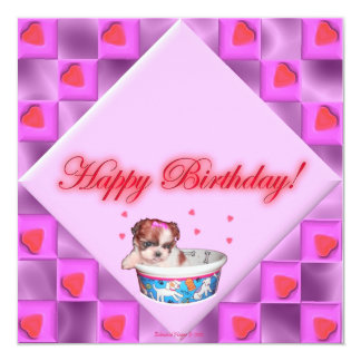 Filhotes de cachorro e cartão de aniversário convite quadrado 13.35 x 13.35cm